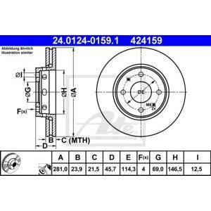 Преден спирачен диск ATE 24.0124-0159.1 281мм Volvo V40 S40 1995-2003